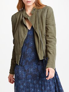 Read more about And or leather biker jacket olive