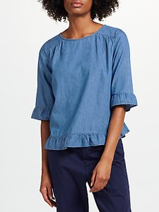 Read more about Collection weekend by john lewis tencel frill trim top light denim