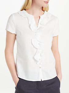 Read more about John lewis frill linen blouse white