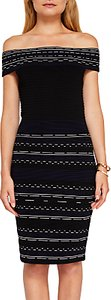 Read more about Ted baker diraz bardot knitted bodycon knee length dress black white