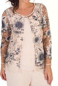 Read more about Chesca sequin and embroidered mesh jacket blush