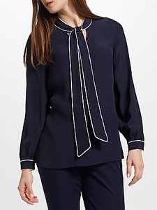 Read more about John lewis tipped tie neck blouse navy