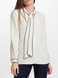 Read more about John lewis spot tipped tie neck blouse white