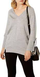 Read more about Karen millen tie cuff tunic jumper grey