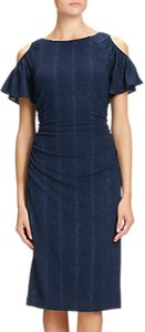 Read more about Adrianna papell draped sleeve knitted sheath dress navy