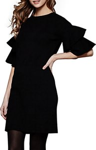 Read more about Yumi fluted sleeve knitted dress black