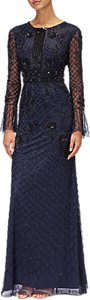 Read more about Adrianna papell long beaded dress navy black