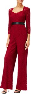 Read more about Adrianna papell three quarter sleeve wide leg lace jumpsuit crimson