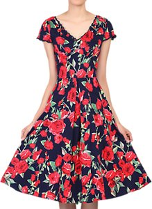 Read more about Jolie moi floral print v-neck swing dress navy