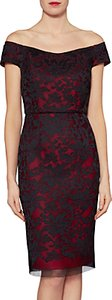 Read more about Gina bacconi felicity embroidered mesh bardot pencil dress poppy