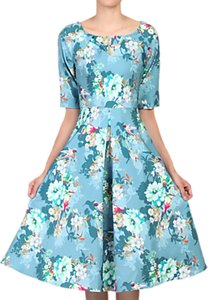 Read more about Jolie moi floral half sleeved swing dress floral teal