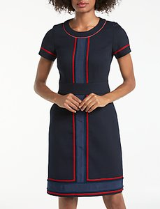 Read more about Boden edith trim detail pencil dress utility navy postbox red