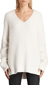 Read more about Allsaints ade wool blend v-neck jumper cream marl