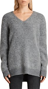 Read more about Allsaints ade v-neck jumper grey marl