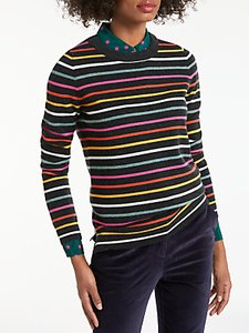 Read more about Boden cashmere striped crew neck jumper charcoal multi