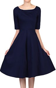 Read more about Jolie moi half sleeve scoop neck swing dress navy