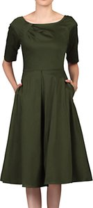 Read more about Jolie moi half sleeve scoop neck swing dress soldier green