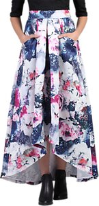 Read more about Jolie moi high low hem floral prom skirt grey pattern