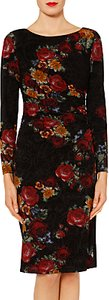 Read more about Gina bacconi antonia floral flock dress black red