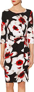 Read more about Gina bacconi tamara floral print frill dress red