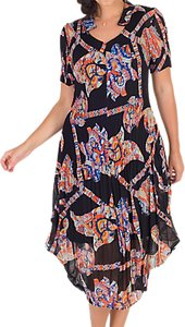 Read more about Chesca abstract print crush pleat notch neck dress black orange