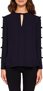 Read more about Ted baker huda pintuck bow blouse navy