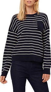Read more about Jaeger cashmere striped sweater navy ivory