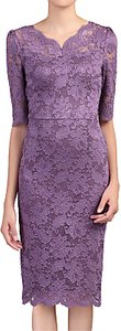 Read more about Jolie moi scalloped v-neck lace dress dark mauve
