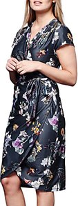 Read more about Yumi winter floral wrap dress dark grey