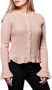 Read more about Yumi peplum hem cardigan dusty pink