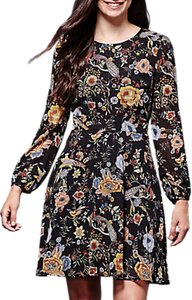 Read more about Yumi retro floral print skater dress black