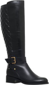 Read more about Carvela polished block heeled knee high boots black