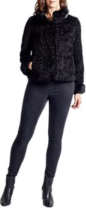 Read more about Four seasons astrakan faux fur trimmed jacket black