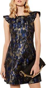 Read more about Karen millen dramatic metallic floral shift dress midnight gold