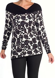 Read more about Chesca mulberry print asymmetric neck jumper black ivory