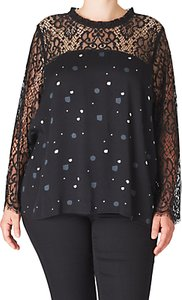 Read more about Adia lace printed long sleeve blouse black