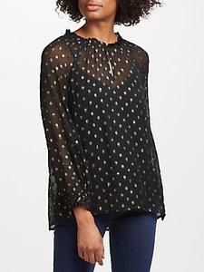 Read more about Velvet by graham spencer jorie sheer chiffon blouse black gold