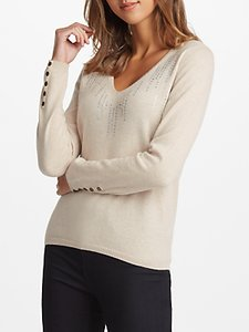 Read more about Cocoa cashmere embellished v-neck jumper oatmeal