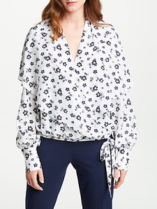 Read more about Bruce by bruce oldfield wrap over tie waist silk blouse ivory print
