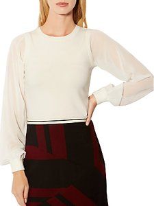Read more about Karen millen georgette long sleeve jumper ivory