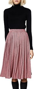 Read more about Compa a fant stica polka dot print pleated midi skirt pink black