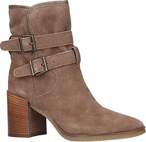 Read more about Kg by kurt geiger buckle block heeled ankle boots beige suede