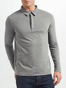 Read more about Samsoe samsoe heim stretch long sleeve polo shirt dark grey melange