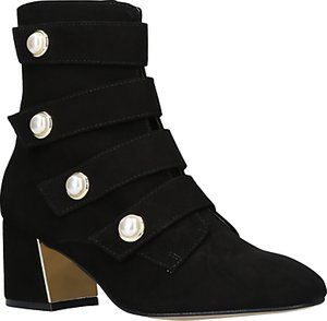 Read more about Carvela spandau faux pearl block heeled ankle boots black suede
