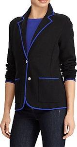 Read more about Lauren ralph lauren alvarta velvet trim blazer polo black empress blue