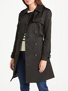 Read more about Lauren ralph lauren faux leather trim trench coat black