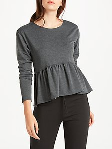 Read more about Max studio long sleeve frill jersey top charcoal