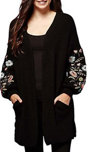 Read more about Yumi floral embroidered chunky cardigan black multi