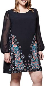 Read more about Yumi curves peacock print tunic dress navy