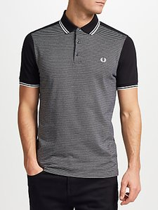Read more about Fred perry jacquard panel polo shirt black
